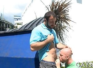 blowjob,hardcore,public,gay Bald hunk gets...