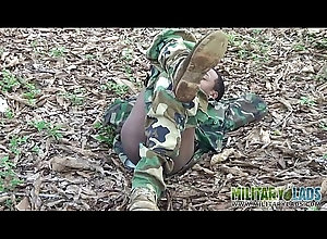 outdoor,uniform,masturbating,gay,twink,military,latino,gay Army boy strokes...