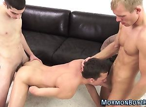 bareback,cumshot,hardcore,threesome Mormon gets holes...