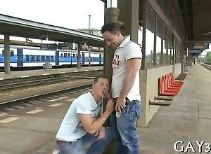 blowjob,hardcore,public,gay Train station is...