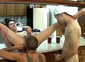 Gay,Gay Threesome,Gay Blowjob,krist cummings,shane allen,tristan matthews,tattoo,rimming,large dick,average dick,short hair,young men,kitchen,blowjob,gay fuck gay,gay porn,condom,threesome A Cum Feast In...