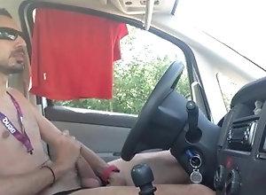 masturbation;car,Solo Male;Gay;Amateur stroking cock in...