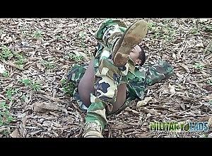 outdoor,uniform,masturbating,gay,twink,military,latino,gay Army boy strokes...