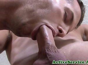 blowjob,sucking,closeup,deepthroat,gay,oral,tattoo Muscled sailor on...