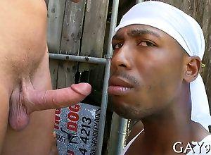 blowjob,hardcore,interracial,gay black dude has a...
